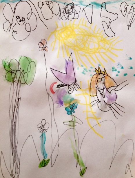 """""""I can show you what clouds look like. We need a butterfly. A sun and a ladder to get up to the sun. The sky up top. Rain that is falling on the fairy. Trees and flowers. A rainbow. With every color of paint."""" -joint collaboration, W and E."""