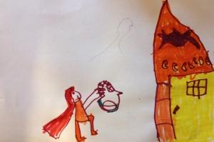 "Nayeli's Little Red Riding Hood. ""She is skipping, see? She has roses on her basket and candy bread inside her basket."""
